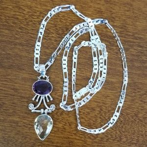 Jewelry - Faceted amethyst and citrine silver pendant